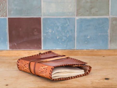 vintage riffle: Leather covered handmade book