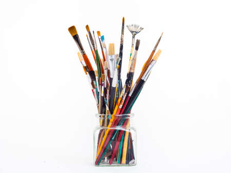 vividly: Paintbrushes in a jar Stock Photo