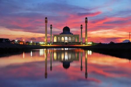 moskee zons ondergang tijd stip 1 Stockfoto