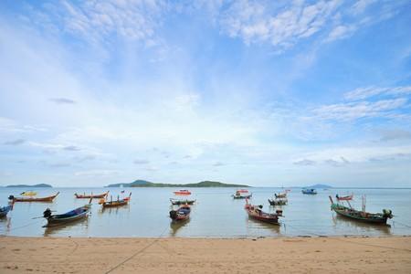 Many Thai boat aircraft parking area beach photo