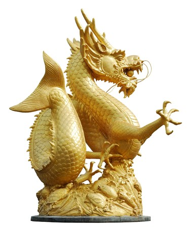 dragon head: Gold Dragon Sculpture Figure Art China, Phuket Thailand Stock Photo