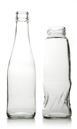 again: Glass bottle with a white liquid. The materials can be recycled again. Stock Photo