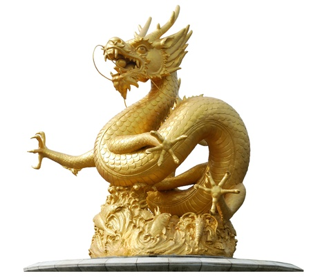 chinese temple: Gold Dragon Sculpture Figure Art China, Phuket Thailand Stock Photo