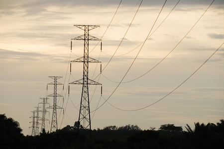 energy management: High-voltage towers. The steel pole and specify a large high voltage transmission. Stock Photo