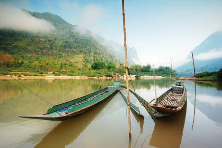 local Long-tailed boat in mekong river ,laos