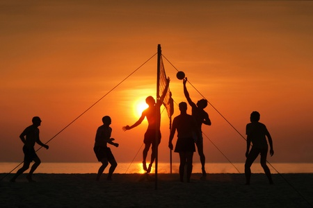 silhouette play  beach  volleyball. Sunset time Stock Photo - 14983959