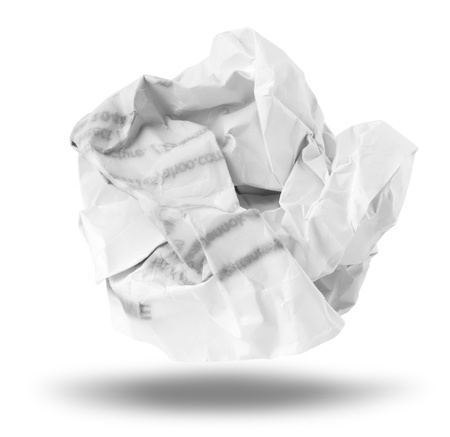 corrugate: Crumpled paper isolated over white