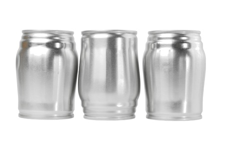 aluminum can: Three used aluminium cans, which can be reuse are on the white background.