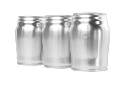 aluminum can: Three used aluminum cans, which can be reuse are on the white background.