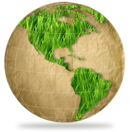 environment geography: green planet earth showing a green globe  Stock Photo