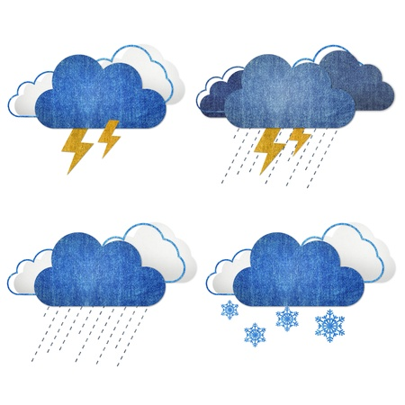 Weather set blue jean craft stick on white background  photo