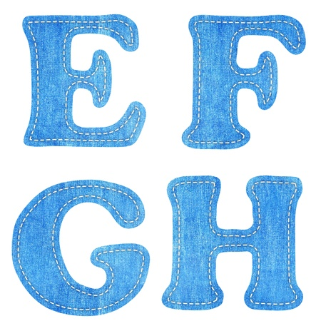alphabet  blue jean craft stick on white background ( E F G H )  photo