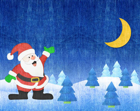 Santa Claus and winter lanscape moon night blue jean craft photo