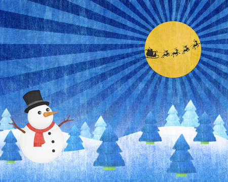 snowman and Santa Into the Winter Christmas Night blue jean craft Stock Photo - 16615239