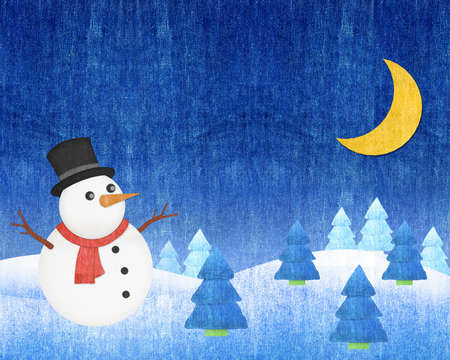 snowman  Winter Christmas Night blue jean craft photo