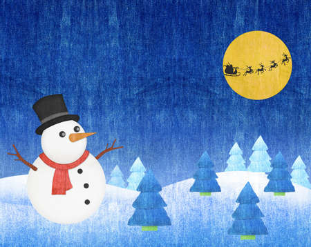 snowman and Santa Into the Winter Christmas Night blue jean craft photo