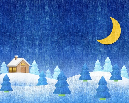 Winter landscapes night blue jean craft photo
