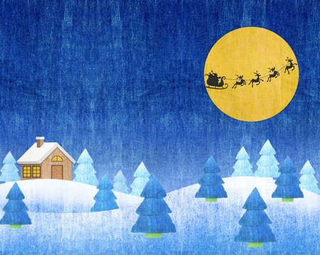 Santa Into the Winter Christmas Night blue jean craft photo