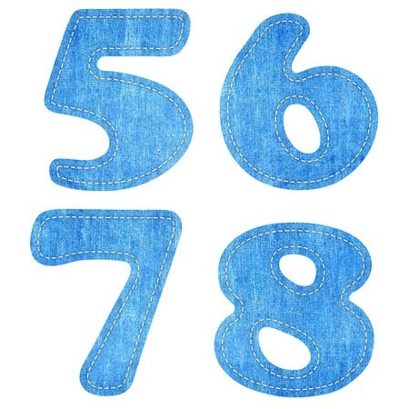 6 7: alphabet  blue jean craft stick on white background ( 5 6 7  8 )