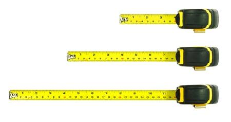 cinta métrica sobre un fondo blanco Foto de archivo