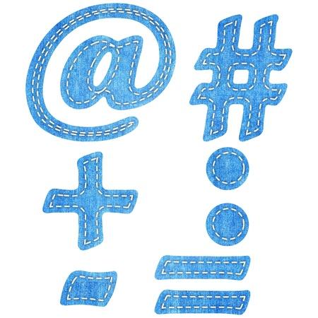 alphabet  blue jean craft stick on white background Stock Photo - 16840573