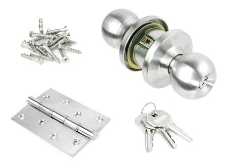 Door Knob assembly with bolts and screws on White Background  photo