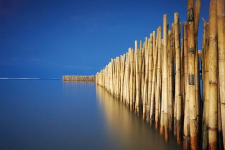 bamboo fence protect sandbank from sea wave photo