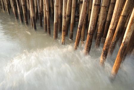 sandbank:  bamboo fence protect sandbank from sea wave Stock Photo