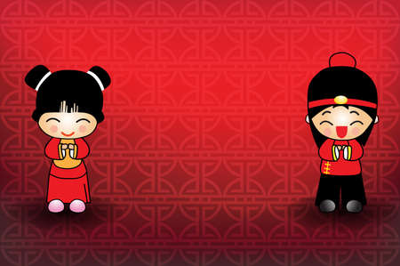 Chinese new year fortune girl and boy on chinese pattern  background