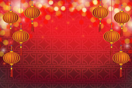 Chinese New Year Greeting Card with Lanterns  in bokeh background  Stock Photo