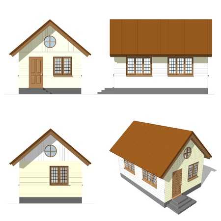A set of house facade , on white background