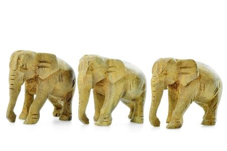 Asian Elephant, Wooden Statute Isolated on White background photo