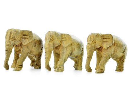 Asian Elephant, Wooden Statute Isolated on White background Stock Photo