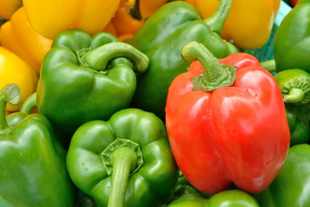 bell peppers: fresh Yellow, green and red colorful sweet pepper  paprika  in local market