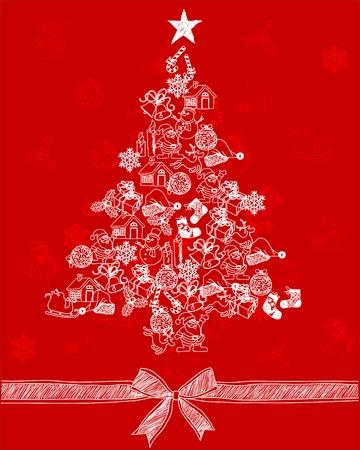 illustration of Christmas tree Sketch Doodles,Hand Drawn Vector  Vector