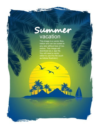 summer vacation on tropical island  Sunset,  with Palm trees  Vector