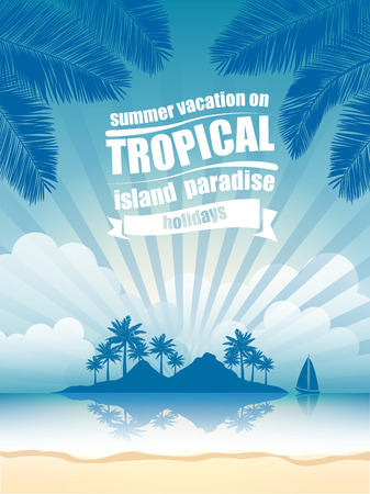coconut tree: summer vacation on tropical island  Sunset,  with Palm trees