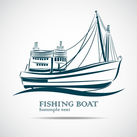 vissersboot gebruikt als een voertuig voor het vinden van vis in de zee hand getekende Stock Illustratie