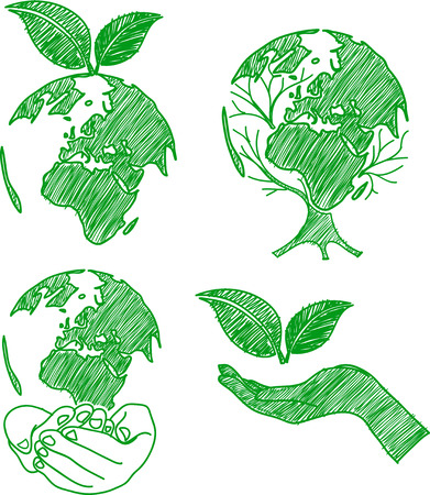 eco doodle set hand drawn vector,illustration Vector