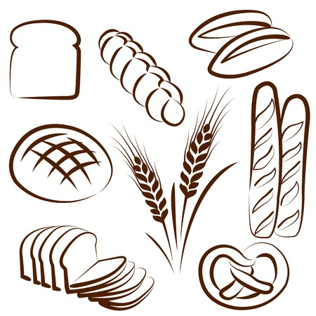 vector hand drawn bread doodles set on white Vector