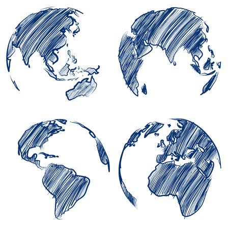 Globe hand drawn Vector Illustrator