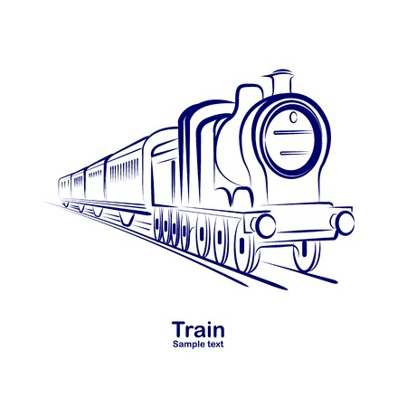 passenger railway historic steam train  vector illustration Vector