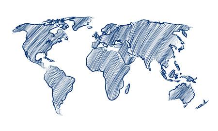世界地図世界手描き下ろしのベクトル図 写真素材 - 27882618