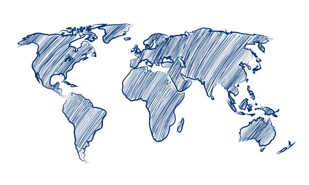 World Map Globe hand drawn Vector Illustration