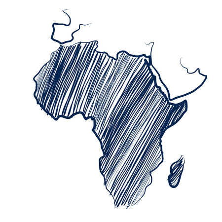 Africa continent  map hand drawn background  Vector