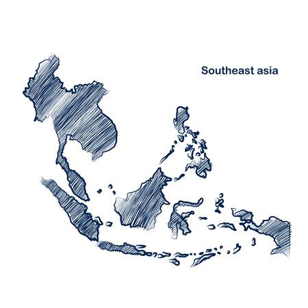 동남 아시아지도 손으로 그린 배경 일러스트
