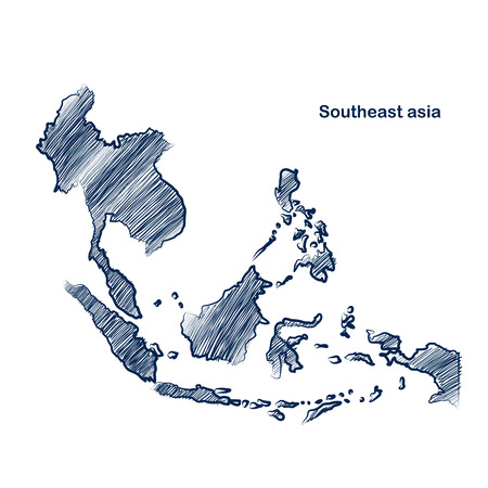 Southeast asia  map hand drawn background  Vector