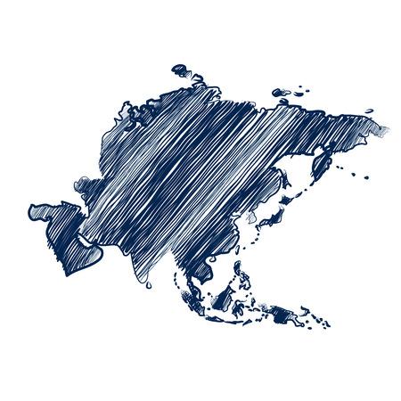Asia kaart hand getekende achtergrond Vector Illustratie