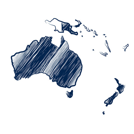 new zealand: Australia continent  map hand drawn background  Illustration