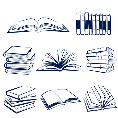Set of books hand drawn Vector